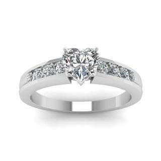 Fascinating Diamonds 14k White Gold 1/2ct TDW Diamond Heart Diamond Ring (G-VS2)