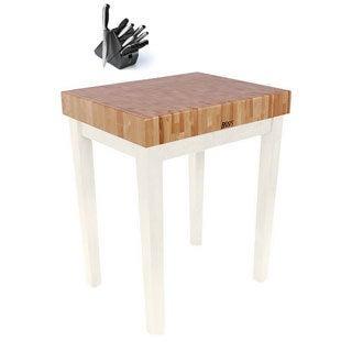 John Boos CU-CB3024-AL Alabaster White Cutting Board 30x24 Table with Henckels 13 Piece Knife Block Set