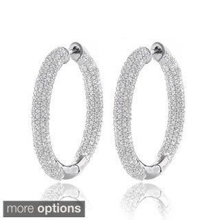 Luxurman 14k White Gold 2 5/8ct TDW Inside-out Pave Diamond Hoop Earrings (H-I, SI1-SI2)