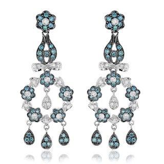 Luxurman 14k White Gold 1 5/8ct Blue Diamond Flower Chandelier Earrings (SI1-SI2)