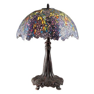 Laburnum Tiffany Art Glass Architectural Bronze Finish 3-light Table Lamp