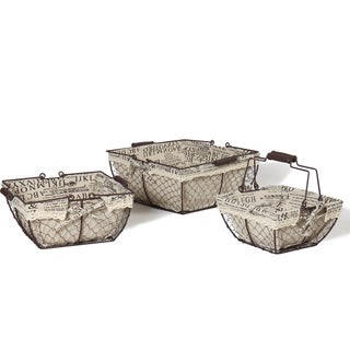 Adeco Square Iron Baskets with Newsprint Fabric Liners (Set of 3)