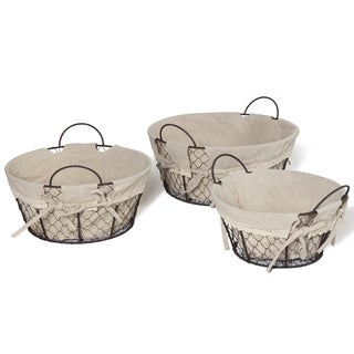 Oval-shaped Lined Rustic Baskets (Set of 3)
