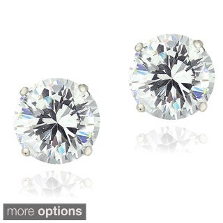 Zirconia Ice Sterling Silver 2ct TGW Round Solitaire Swarovski Zirconia Stud Earrings