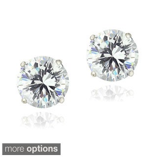Zirconia Ice Sterling Silver 4ct TGW Round Solitaire Swarovski Zirconia Stud Earrings
