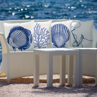 Overstock Decorative Throw Pillows : Blue Sea Print Indoor/Outdoor Decorative Throw Pillow