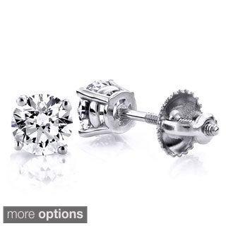 Luxurman 14k Gold 1/4ct TDW Round-cut Diamond Stud Earrings (H-I, SI1-SI2)