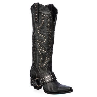 Women's 'Stud Rocker' Black Leather Cowboy Boots