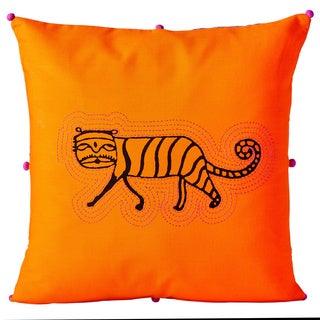 Handmade 16-inch Orange Tiger Cushion Cover (India)