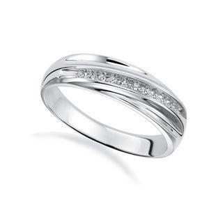 Cambridge Men's Sterling Silver 1/10ct TDW Diamond Wedding Band (I-J, I2-I3)