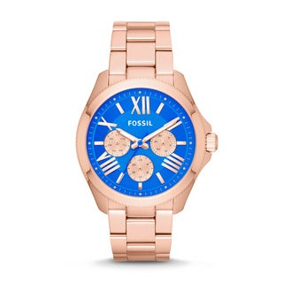 Fossil Women's Cecile Multi-Function Blue Dial Rose-Tone Gold Stainless Steel Bracelet Watch AM4556