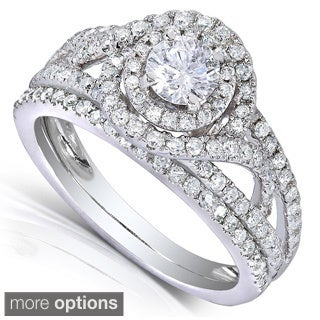 Annello 14k White or Two Tone Gold 1ct TDW Round Cut Diamond 2-piece Bridal Ring Set (H-I, I1-I2)