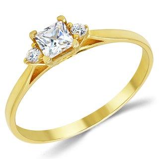 14k Yellow Gold 3-stone Cubic Zirconia Engagement Ring