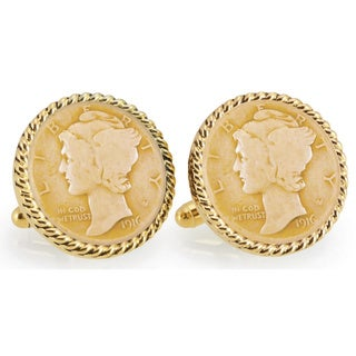 American Coin Treasures Gold-layered Silver Mercury Dime Goldtone Rope Bezel Cuff Links