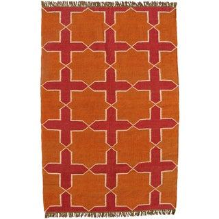 Hand-woven Orange Jute/Wool Flat Weave Rug (6' x 9')