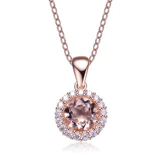 Collette Z Sterling Silver Cubic Zirconia and Light Orange Glass Round Necklace