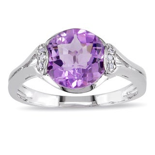 Miadora Sterling Silver 2 3/4ct TGW Amethyst and Diamond Cocktail Ring