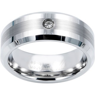 Cambridge 8mm Tungsten Carbide with .04ct TDW Diamond Comfort Fit Band (I-J, I1-I2)