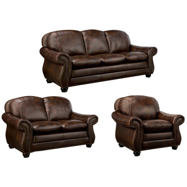 Monterrey Brown Italian Leather Sofa Loveseat And Chair Overstock Shopping Great Deals On