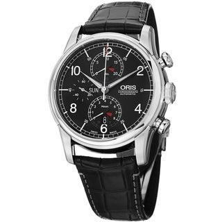 Oris Men's 7754 7686 4084 SET 'Raid' Black Dial Black Leather Strap Limited Edition Watch