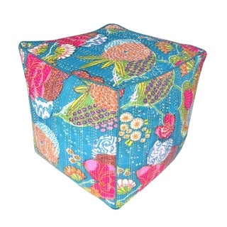 Floral Palampore Cube Pouf (India)
