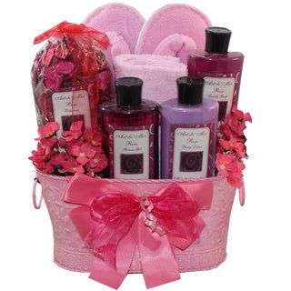 Perfectly Pampered Pink Spa Bath and Body Gift Basket Set