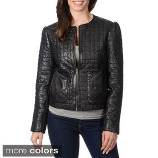 Whetblu Women's Quilted Genuine Leather Jacket