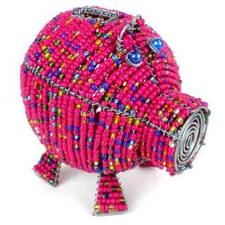 Handmade Pink Beaded Piggy Bank (Zimbabwe)