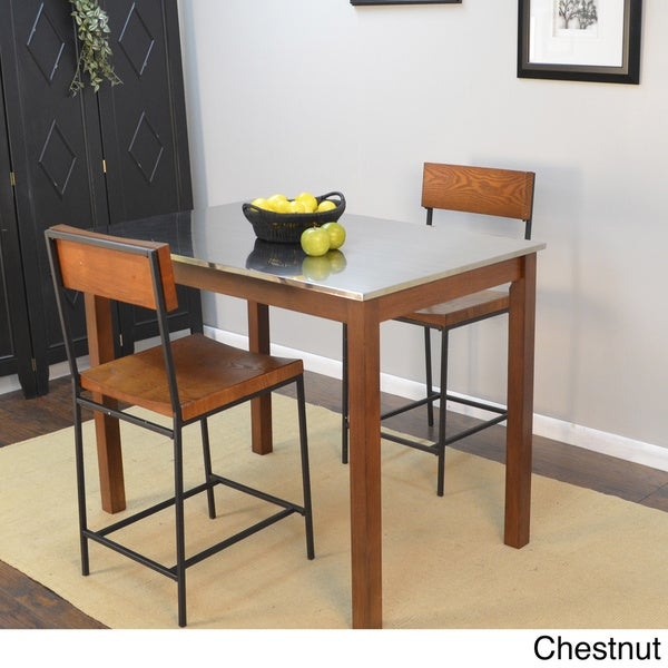 Overstock Bar Table: Darby Stainless Steel Top Bar Table