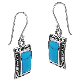 Inlaid Stone Greek Key Frame .925 Silver Dangle Earrings (Thailand)