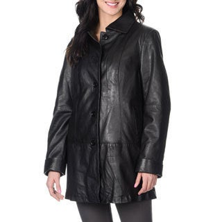 Wheblu Women's Black Leather Removable Insulated Lined Jacket