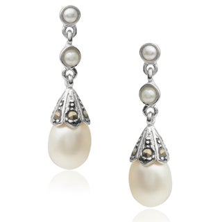 Journee Collection Sterling Silver Faux Pearl Dangle Earrings