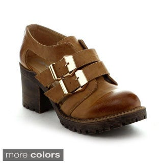 Nature Breeze Women's 'Munich-01' Double Buckle Cut-out Booties
