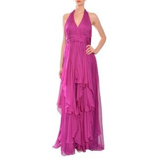 Mikael Aghal Women's Fuchsia Silk Ruffled Halter Gown