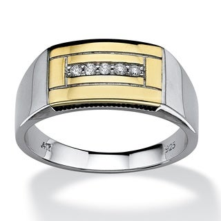 PalmBeach Gold over Silver Men's 1/10ct TDW Diamond Ring (H-I, I2-I3)