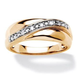 PalmBeach Gold over Silver Men's 1/10ct TDW Diamond Wave Ring (H-I, I2-I3)