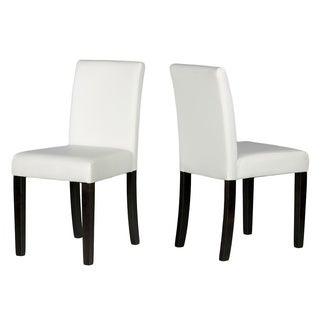 Cortesi Home Lexa Dining Chair in White Leather-like Vinyl (Set of 2)