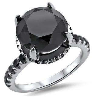 Noori 18k White Gold 3 3/5ct TDW Round Black Diamond Halo Engagement Ring (SI1-SI2)