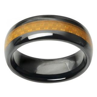 Vance Co. Men's Ceramic Carbon Fiber Inlay Band