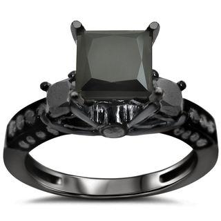 Noori 14k Black Gold 2 1/6ct TDW 3-stone Diamond Engagement Ring (VS1-VS2)