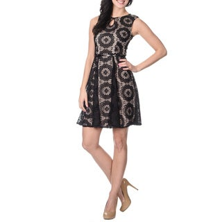 London Times Women's Two-tone Lace Overlay Dress