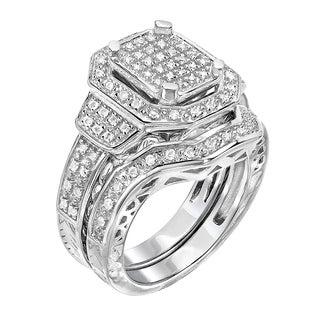 Sterling Silver 1/2ct TDW Diamond Bridal Set Ring (G-H, I1-I2)
