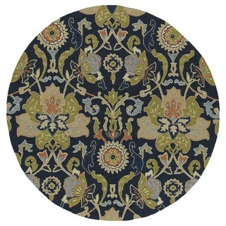 Fiesta Round Navy Flower Indoor/ Outdoor Rug (5'9)