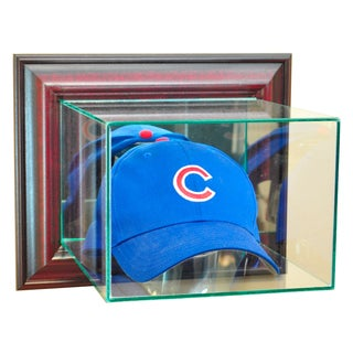 Cherry Finish Wall Mounted Cap and Hat Display Case