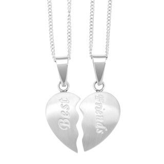 Stainless Steel 2-piece Friends Heart Necklace