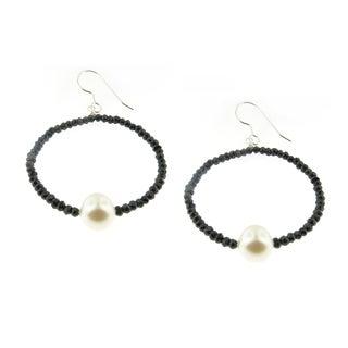 Handmade Faceted Black Spinel Gemstone and Pearl (7 mm) Hoop Earrings (USA)