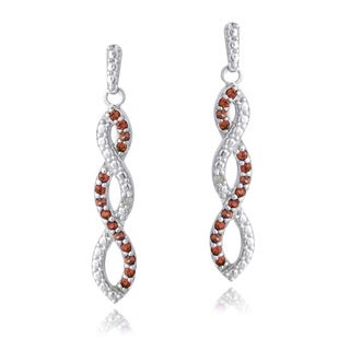 Glitzy Rocks Sterling Silver Gemstones and Diamond Accent Triple Infinity Dangle Earrings