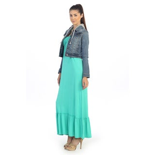 Hadari Women's Denim Blue Hooded Jean Jacket
