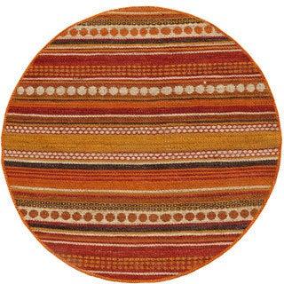 Hand-woven Sindhi Rust Jute Round Rug (8' x 8')