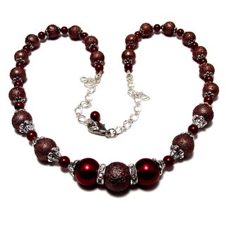 Textured Brown and Smooth Red Glass Pearl 4-piece Wedding Jewelry Set